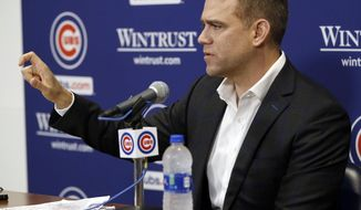 Chicago Cubs president of baseball operations Theo Epstein gives a closing news conference for the season at Wrigley Field, Monday, Sept. 30, 2019, in Chicago. (Kevin Tanaka/Chicago Sun-Times via AP)