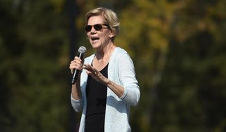 Democratic presidential hopeful Sen. Elizabeth Warren of Massachusetts wraps up a campaign event in Rock Hill, S.C., Saturday, Sept. 28, 2019. (AP Photo/Meg Kinnard)