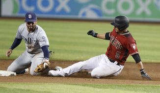 San Diego Padres' Luis Urias, left, tags out Arizona Diamondbacks' Edurado Escobar at second base during the ninth inning of a baseball game Sunday, Sept. 29, 2019, in Phoenix. (AP Photo/Darryl Webb)