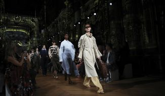 Models wear creations as part of the Stella McCartney Ready To Wear Spring-Summer 2020 collection, unveiled during the fashion week, in Paris, Monday, Sept. 30, 2019. (Photo by Vianney Le Caer/Invision/AP)