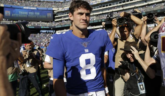 New York Giants quarterback Daniel Jones leaves the field after an NFL football game against the Washington Redskins, Sunday, Sept. 29, 2019, in East Rutherford, N.J. (AP Photo/Adam Hunger)