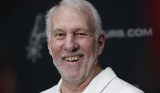 San Antonio Spurs head coach Gregg Popovich talks with the media during an NBA basketball media day Monday, Sept. 30, 2019, in San Antonio. (AP Photo/Eric Gay)