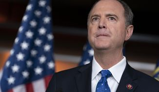 House Intelligence Committee Chairman Adam Schiff, D-Calif., talks to reporters about the release by the White House of a transcript of a call between President Donald Trump and Ukrainian President Volodymyr Zelensky, in which Trump is said to have pushed for Ukraine to investigate former Vice President Joe Biden and his family, at the Capitol in Washington, Wednesday, Sept. 25, 2019. (AP Photo/J. Scott Applewhite)