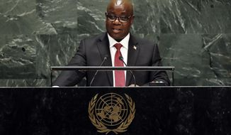 Burundi's Foreign Minister Ezechiel Nibigira, addresses the 74th session of the United Nations General Assembly, Monday, Sept. 30, 2019. (AP Photo/Richard Drew)