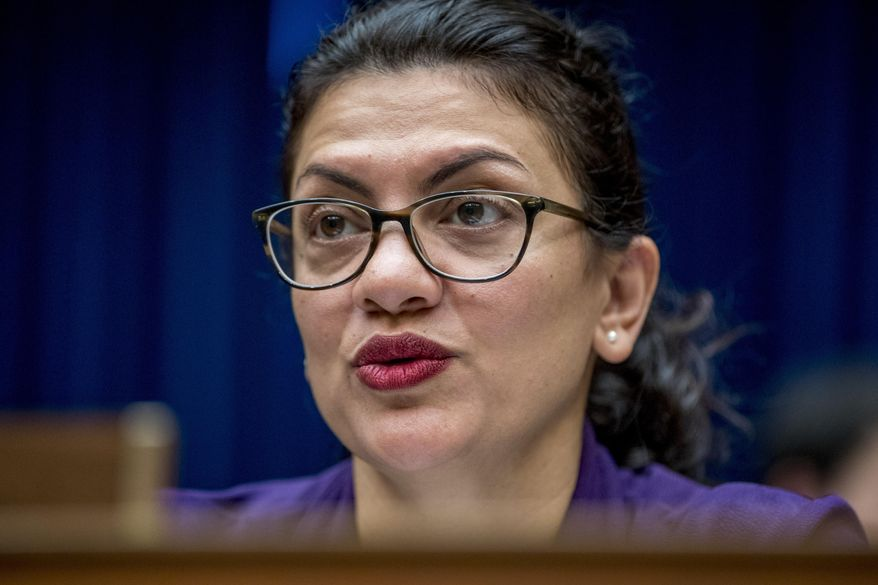 Rep. Rashida Tlaib, D-Mich., questions CDC Principal Deputy Secretary Dr. Anne Schuchat as she speaks before a House Oversight subcommittee hearing on lung disease and e-cigarettes on Capitol Hill in Washington, Tuesday, Sept. 24, 2019. (AP Photo/Andrew Harnik)