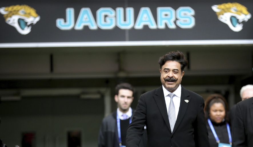 In this Oct. 28, 2018, file photo, Jacksonville Jaguars owner Shahid Khan arrives to watch the warm-up before an NFL football game against Philadelphia Eagles at Wembley stadium in London.  **FILE**