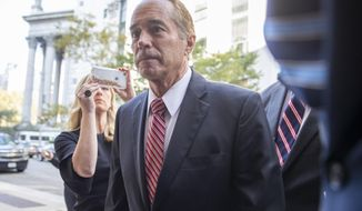 Former U.S. Rep. Chris Collins arrives at Federal court, Tuesday, Oct. 1, 2019, in New York. Collins is expected to plead guilty in an insider trading case Tuesday, a day after saying he was quitting Congress. (AP Photo/Mary Altaffer)