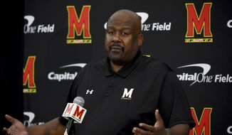 In this Aug. 2, 2019, file photo, Maryland head coach Mike Locksley addresses the media during a news conference before NCAA college football practice, in College Park, Md. Maryland's impressive start under first-year coach Mike Locksley has been wiped out by two straight ugly defeats, leaving the team scrambling before a pivotal trip to Rutgers. (AP Photo/Will Newton, File) **FILE**