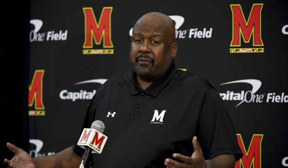 In this Aug. 2, 2019, file photo, Maryland head coach Mike Locksley addresses the media during a news conference before NCAA college football practice, in College Park, Md. Maryland's impressive start under first-year coach Mike Locksley has been wiped out by two straight ugly defeats, leaving the team scrambling before a pivotal trip to Rutgers. (AP Photo/Will Newton, File) ** FILE **