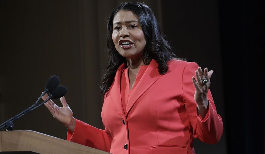 """Mayor London Breed speaks during her state of the city address in San Francisco, Jan. 30, 2019. The National Rifle Association is declaring victory after San Francisco Mayor London Breed told city departments to ignore part of a resolution labeling the NRA a """"terrorist organization."""" (AP Photo/Jeff Chiu) ** FILE **"""