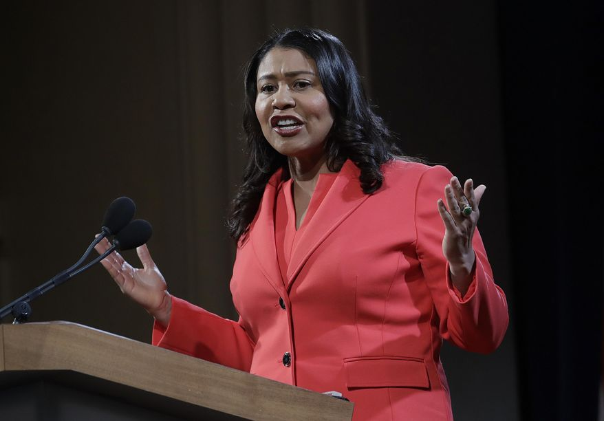 "Mayor London Breed speaks during her state of the city address in San Francisco, Jan. 30, 2019. The National Rifle Association is declaring victory after San Francisco Mayor London Breed told city departments to ignore part of a resolution labeling the NRA a ""terrorist organization."" (AP Photo/Jeff Chiu) ** FILE **"