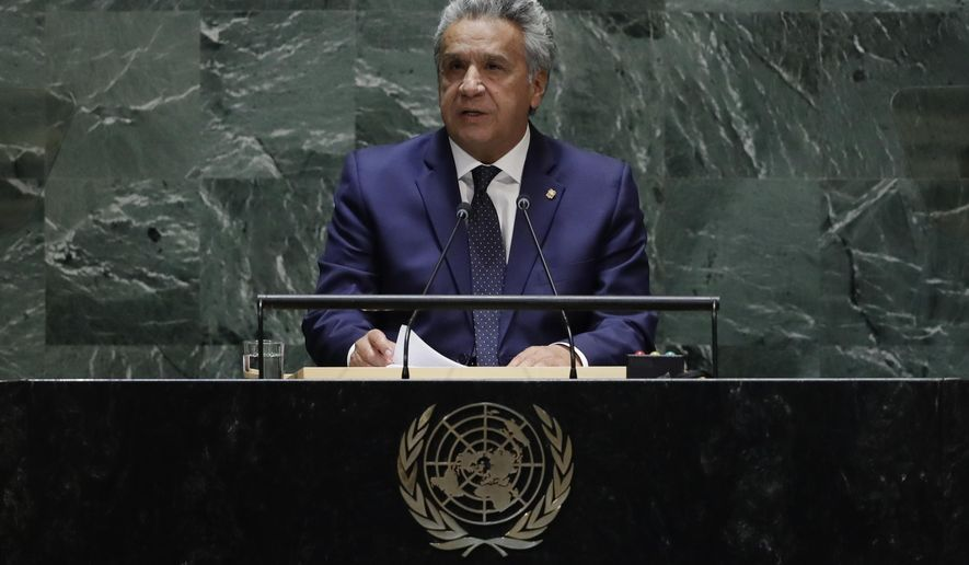 Ecuador's President Lenin Moreno addresses the 74th session of the United Nations General Assembly, Wednesday, Sept. 25, 2019, at the United Nations headquarters. (AP Photo/Frank Franklin II)