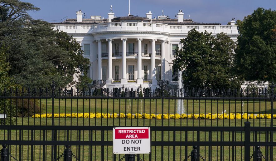 The White House is seen in Washington, Tuesday, Oct. 1, 2019.  (AP Photo/J. Scott Applewhite)