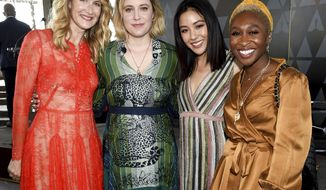 Actors Laura Dern, left, Greta Gerwig, Constance Wu and Cynthia Erivo pose together at the Academy of Motion Picture Arts and Sciences Women's Initiative New York luncheon at the Rainbow Room on Wednesday, Oct. 2, 2019, in New York. (Photo by Evan Agostini/Invision/AP)