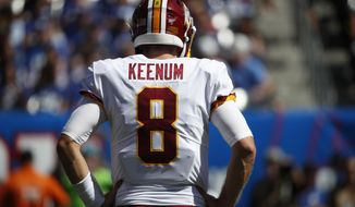 Washington Redskins quarterback Case Keenum (8) waits on the field during an NFL football game against the New York Giants, Sunday, Sept. 29, 2019, in East Rutherford, N.J. The Giants won the game 24-3. (Jeff Haynes/AP Images for Panini)