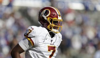 Washington Redskins quarterback Dwayne Haskins during the second half of an NFL football game against the New York Giants, Sunday, Sept. 29, 2019, in East Rutherford, N.J. (AP Photo/Adam Hunger) ** FILE **