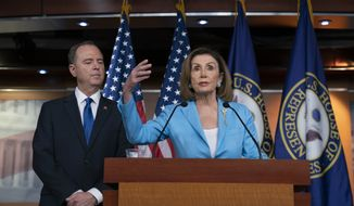 Speaker of the House Nancy Pelosi, D-Calif., is joined by House Intelligence Committee Chairman Adam Schiff, D-Calif., at a news conference as House Democrats move ahead in the impeachment inquiry of President Donald Trump, at the Capitol in Washington, Wednesday, Oct. 2, 2019. (AP Photo/J. Scott Applewhite)