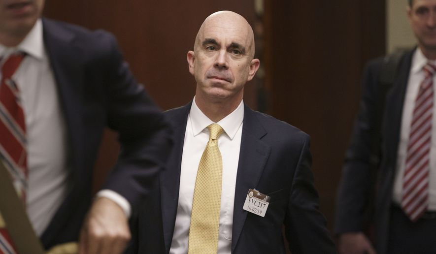 In this file photo, State Department Inspector General Steve Linick leaves a meeting in a secure area at the Capitol where he met with Senate staff about the State Department and Ukraine, in Washington, Wednesday, Oct. 2, 2019. (AP Photo/J. Scott Applewhite) ** FILE **