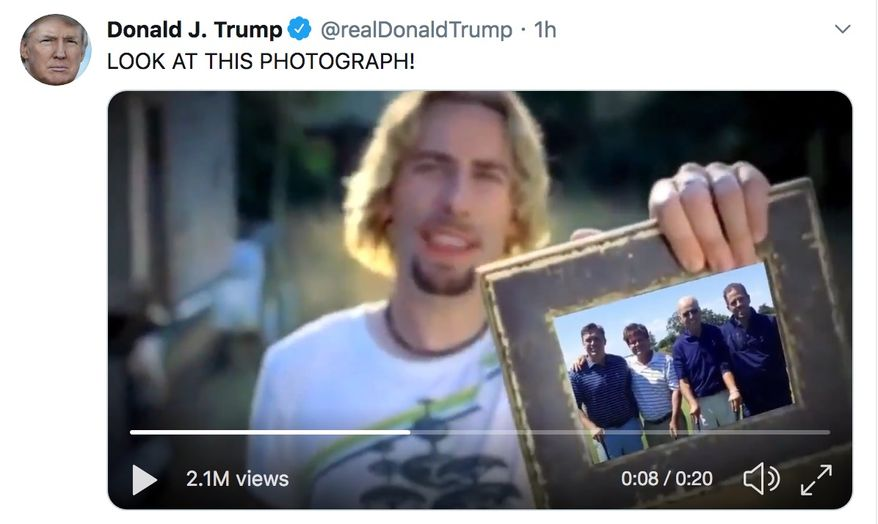"""President Trump shares a parody of the Nickelback music video """"Photograph,"""" which includes a 2014 photo of former Vice President Joseph R. Biden with his son and natural gas executive Devon Archer. Mr. Archer served on served on the board of the Burisma Holdings with Hunter Biden. (Image: Twitter, President Trump, video parody)"""