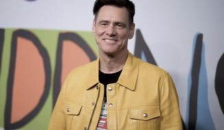 """FILE - In this Sept. 5, 2018 file photo, Jim Carrey attends the LA Premiere of """"Kidding """"at ArcLight Hollywood in Los Angeles. Carrey is working on a novel called """"Memoirs and Information,"""" Alfred A. Knopf announced Wednesday, Oct. 2, 2019. Along with co-author Dana Vacjon, Carrey will take on celebrity, acting, romance and some other subjects he's familiar with. (Photo by Richard Shotwell/Invision/AP, File)"""