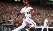 Washington Nationals' Juan Soto (22) drives in three runs with a single in the eighth inning to put the Washington Nationals up over the Milwaukee Brewers in a National League wild-card baseball game at Nationals Park, Tuesday, Oct. 1, 2019, in Washington. The Nationals won 4-3. (AP Photo/Andrew Harnik) ** FILE **