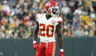 FILE - In this Aug. 29, 2019, file photo, Kansas City Chiefs' Morris Claiborne is shown during the first half of a preseason NFL football game against the Green Bay Packers, in Green Bay, Wis. The Chiefs could get a big boost in their defensive backfield this week with the return of Claiborne, who was suspended the first four games of the season for violating the NFL's substance-abuse policy. (AP Photo/Morry Gash, File)