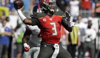Tampa Bay Buccaneers quarterback Jameis Winston (3) throws a pass against the New York Giants during the first half of an NFL football game Sunday, Sept. 22, 2019, in Tampa, Fla. (AP Photo/Chris O'Meara)