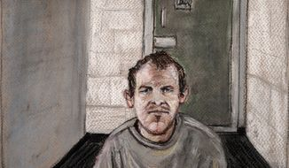 FILE - In this June 14, 2019, file courtroom drawing, Brenton Tarrant, the man accused of killing 51 people at two Christchurch mosques, appears via video link at the Christchurch District Court, from the maximum security prison in Auckland where he's being held, Christchurch, New Zealand. Tarrant has abandoned his bid to move the trial to another city. The unexpected development on Thursday, Oct. 3, 2019 was welcomed by survivors and grieving relatives of the March 15 attacks, who had worried they would have had to travel to Auckland to appear as witnesses or watch the proceedings. (AP Photo/Stephanie McEwin, File)