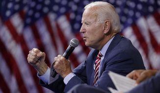 Former Vice President and Democratic presidential candidate Joe Biden speaks during a gun safety forum Wednesday, Oct. 2, 2019, in Las Vegas. (AP Photo/John Locher)