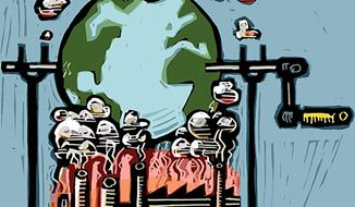 Illustration on environmentalism and economic growth by William Brown/Tribune Content Agency