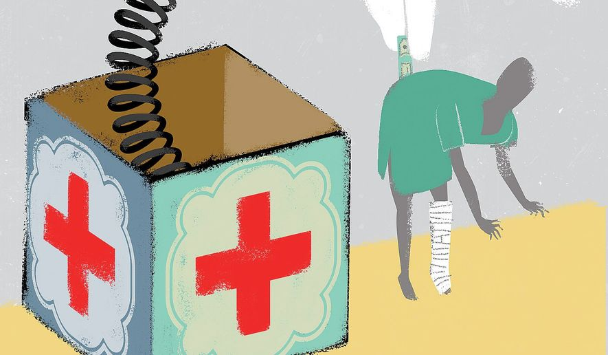 Surprise medical bill crisis illustration by Linas Garsys