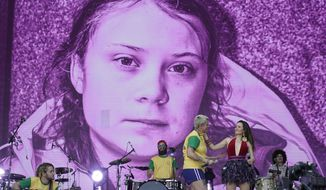 A picture of the Swedish activist and student Greta Thunberg is displayed on the big screen as Juliana Strassacapa of the Brazilian band Francisco, el Hombre and Catalina Garcia, of the Colombian band Monsieur Perine, right, perform at the Rock in Rio music festival in Rio de Janeiro, Brazil, Thursday, Oct. 3, 2019. (AP Photo/Leo Correa)