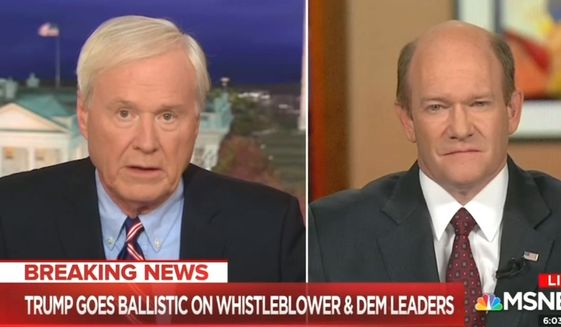 MSNBC's Chris Matthews discusses the possibility of impeaching Vice President Mike Pence during an Oct. 2, 2019 broadcast. (Image: MSNBC video screenshot)