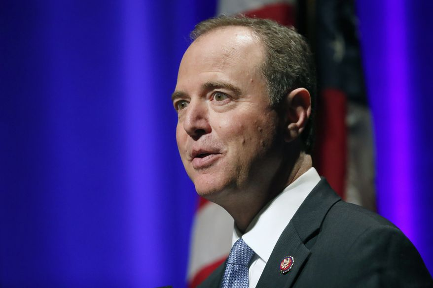 """California Congressman Adam Schiff delivers remarks titled """"The Threat to Liberal Democracy at Home and Abroad,"""" to the Leopold Lecture at Northwestern University Thursday, Oct. 3, 2019, in Evanston , Ill. (AP Photo/Charles Rex Arbogast)"""