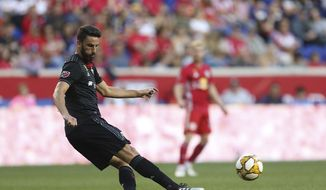 D.C. United midfielder Junior Moreno (5) during an MLS soccer match, Sunday, Sept. 29, 2019, in Harrison, N.J. The final score was a 0-0 draw. (AP Photo/Vera Nieuwenhuis) **FILE**