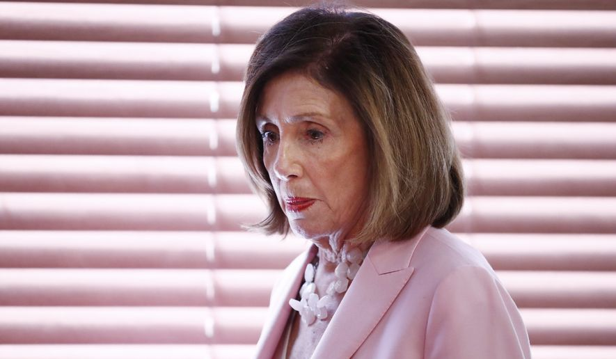 Speaker of the House Rep.Nancy Pelosi, D-Calif., arrives to speak with local officials about Venezuelan democracy efforts on Thursday, Oct. 3, 2019, in Weston, Fla. (AP Photo/Brynn Anderson)