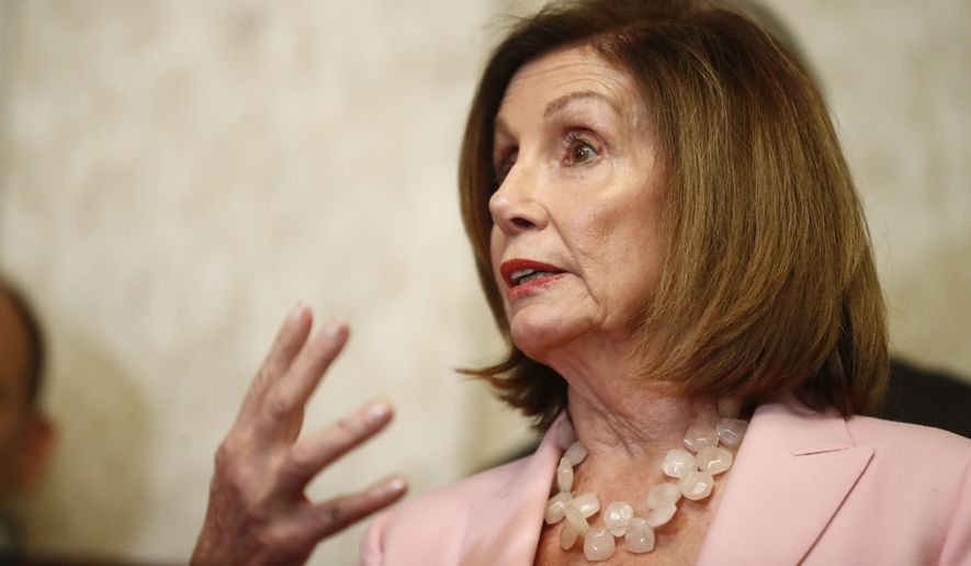 Speaker of the House Nancy Pelosi, D-Calif., speaks during a news conference and with local officials about Venezuelan democracy efforts on Thursday, Oct. 3, 2019, in Weston, Fla. (AP Photo/Brynn Anderson) **FILE**
