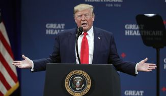 President Donald Trump speaks at an event concerning Medicare Thursday, Oct. 3, 2019, in The Villages, Fla. (AP Photo/John Raoux)