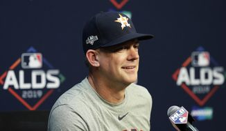 Houston Astros manager AJ Hinch takes part in a news conference, Thursday, Oct. 3, 2019, in Houston. The Astros will host the Tampa Bay Rays in the first game of an American League Division Series on Friday. (AP Photo/Eric Gay)