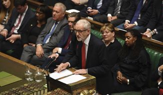"""In this handout photo provided by the House of Commons, leader of Britain's Labour party Jeremy Corbyn speaks in Parliament in London, Wednesday, Sept. 25, 2019. An unrepentant Prime Minister Boris Johnson brushed off cries of """"Resign!"""" and dared the political opposition to try to topple him Wednesday at a raucous session of Parliament, a day after Britain's highest court ruled he acted illegally in suspending the body ahead of the Brexit deadline. (Jessica Taylor/House of Commons via AP)"""