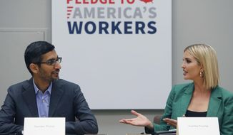 White House senior adviser Ivanka Trump, right, speaks with Google CEO Sundar Pichai at El Centro College in Dallas, Thursday, Oct. 3, 2019. Pichai announced that Google is committing to a White House initiative designed to get private companies to expand job training for American workers. (AP Photo/LM Otero)