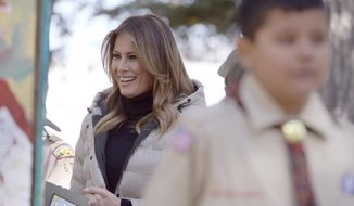 First lady Melania Trump meets with Boy Scouts during a visit to Jackson, Wyo., Thursday, Oct. 3, 2019. Trump later went on a scenic float of the Snake River in Grand Teton National Park. (Ryan Dorgan/Jackson Hole News & Guide via AP)