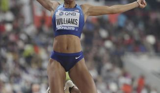 Kendell Williams, of the United States, competes in the heptathlon long jump at the World Athletics Championships in Doha, Qatar, Thursday, Oct. 3, 2019. (AP Photo/Hassan Ammar)
