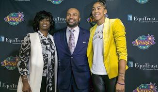 FILE - In this Dec. 7, 2018, file photo, Los Angeles Sparks executive vice president and general manager Penny Toler, left, newly named head coach Derek Fisher, center, and two-time WNBA Most Valuable Player Candace Parker pose for a photo during a news conference in Los Angeles. The WNBA is looking into an obscenity-laced speech that included racial epithets made by Los Angeles general manager Penny Toler in the locker room after the Sparks lost Game 2 of the WNBA semifinals in Connecticut. (AP Photo/Damian Dovarganes, File)