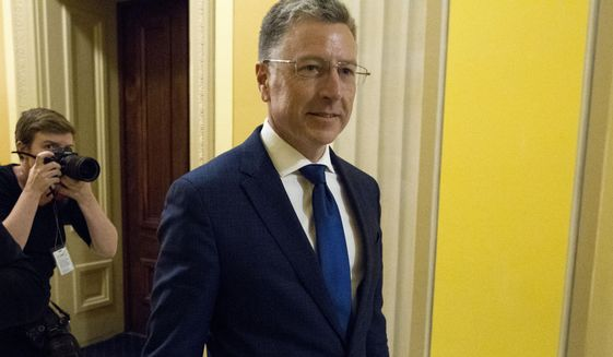 Kurt Volker, a former special envoy to Ukraine, is leaving after a closed-door interview with House investigators as House Democrats proceed with the impeachment investigation of President Donald Trump, at the Capitol in Washington, Thursday, Oct. 3, 2019. (AP Photo/Jose Luis Magana)
