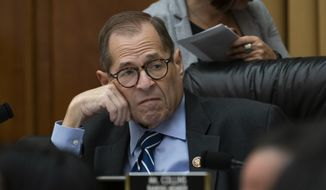 In this Sept. 12, 2019, file photo, House Judiciary Committee Chairman Jerrold Nadler, D-N.Y., makes preparations for his panel's first impeachment-related vote as he defines procedures for upcoming investigations on President Donald Trump, on Capitol Hill in Washington. (AP Photo/J. Scott Applewhite) ** FILE **