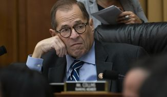 In this Sept. 12, 2019 photo, House Judiciary Committee Chairman Jerrold Nadler, D-N.Y., makes preparations for his panel's first impeachment-related vote as he defines procedures for upcoming investigations on President Donald Trump, on Capitol Hill in Washington. (AP Photo/J. Scott Applewhite)