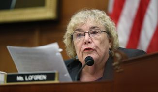 In this July 24, 2019 photo, Rep. Zoe Lofgren, D-Calif., asks questions to former special counsel Robert Mueller, as he testifies before the House Judiciary Committee hearing on his report on Russian election interference, on Capitol Hill, in Washington. (AP Photo/Andrew Harnik)