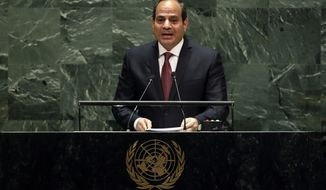 Egypt's President Abdel Fattah el-Sisi addresses the 74th session of the United Nations General Assembly, Tuesday, Sept. 24, 2019. (AP Photo/Richard Drew)
