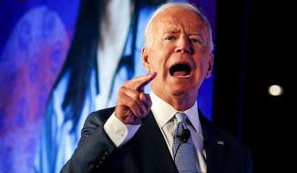 Former Vice President and Democratic presidential candidate Joe Biden speaks in SEIU Unions For All Summit on Friday, Oct. 4, 2019, in Los Angeles. (AP Photo/Ringo H.W. Chiu) **FILE**